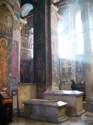 The tombs of Serbian King Stefan and his sister Helen, 14th century